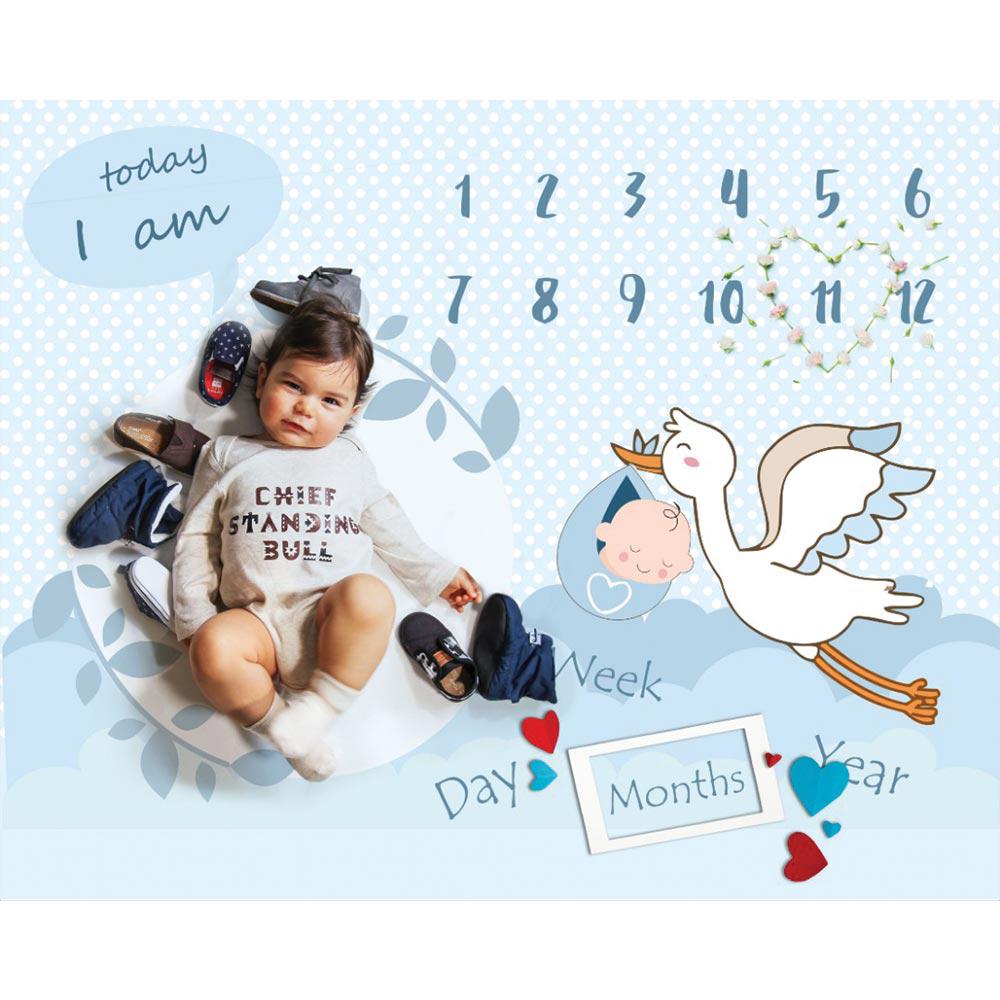 پارچه ماهگرد مدل لک لک و کودک آبی الپی کیدز LPkids
