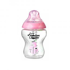 شیشه شیر تامی تیپی tommee tippee مناسب +0 ماه 260 میلی لیتر صورتی (شیشه شیر و لوازم جانبی)