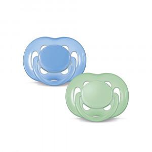 پستانک فندقی 2 عددی (0-6) ماه سیلیکونی سبز-آبی اونت AVENT (پستانک و دندانگیر)