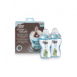 شیشه شیر تامی تیپی مناسب +3 ماه 340 میلی لیتر رنگ آبی (2عددی) (شیشه شیر و لوازم جانبی)