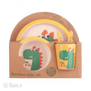 ظرف غذای 5 تکه بامبو (مدل دایناسور)