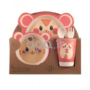 ظرف غذای 5 تکه بامبو (ظروف غذاخوری )(مدل سنجاب)