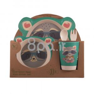 ظرف غذای 5 تکه بامبو (ظروف غذاخوری )(مدل راکون)