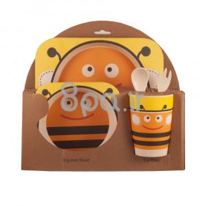 ظرف غذای 5 تکه بامبو (ظروف غذاخوری )(مدل زنبور)
