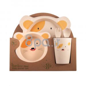 ظرف غذای 5 تکه بامبو (ظروف غذاخوری )(مدل روباه)