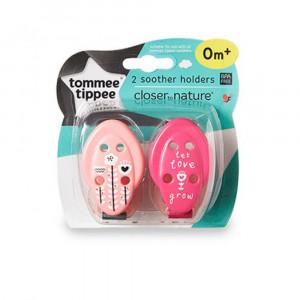 زنجیر پستانک تامی تیپی مناسب +0 ماه رنگ صورتی(2 عددی) (پستانک و دندانگیر)