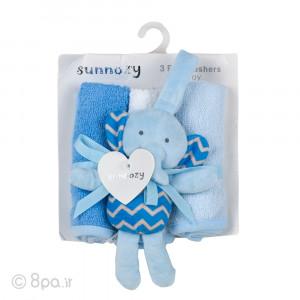 حوله دست و صورت 3 عددی به همراه آویز کریر جغجغه ای فیلی آبی sunnozy