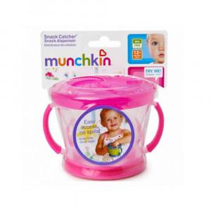 ظرف تنقلات دربدار (اسنک خوری) صورتی مانچکین munchkin (ظروف غذاخوری )