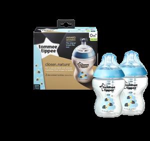 شیشه شیر تامی تیپی مناسب +0 ماه 260 میلی لیتر رنگ آبی