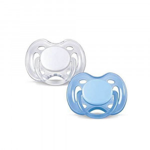 پستانک فندوقی 2 عددی (0-6) ماه سیلیکونی سفید-آبی اونت AVENT (پستانک و دندانگیر)