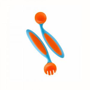 قاشق و چنگال کودک بون boon (رنگ آبی- نارنجی)