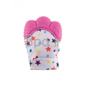 دستکش دندانگیر نوزاد (صورتی ستاره دار) (2 عددی)