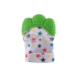 دستکش دندانگیر نوزاد (سبز ستاره دار) (2 عددی) (پستانک و دندانگیر)