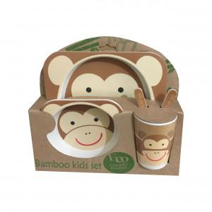 ظرف غذای 5 تکه بامبو (مدل میمون)