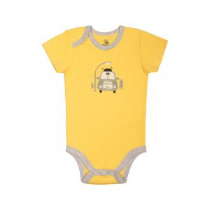 آستین کوتاه زیر دکمه دار زرد فولکس آشور