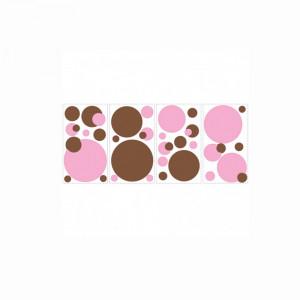 استیکر دیواری اتاق کودک روم میتس roommates طرح Just Dots Pink/Brown