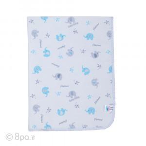 زیرانداز مخمل آبی طوسی طرح فیل کیوت بیبی cute baby
